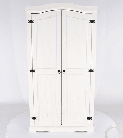 Corona White Washed 2 Door Wardrobe