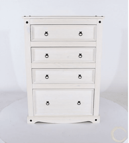 Corona White Washed 4 Drawer Chest