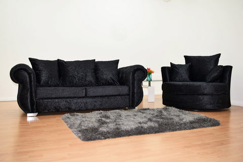 Belvedere Crushed Velvet Black Sofa Suite