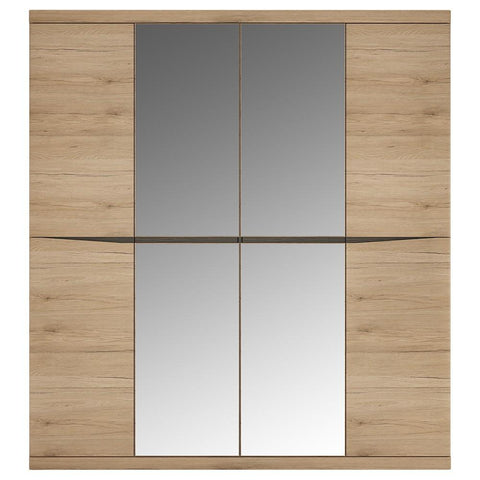 Kensington 4 Door Wardrobe with 2 Mirror doors in Oak