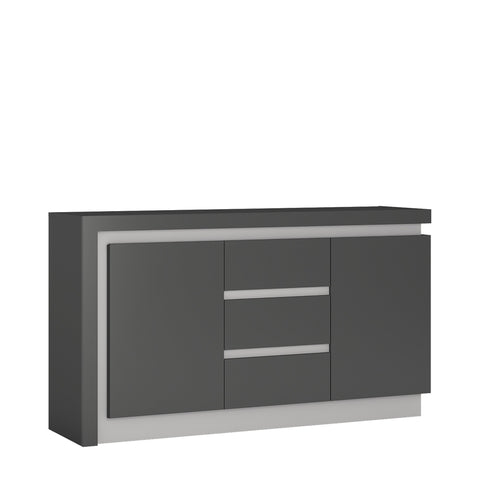 Lyon 2 door 3 drawer sideboard in Platinum/Light Grey Gloss