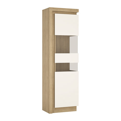 Lyon Tall narrow display cabinet (RHD) in Riviera Oak/White High Gloss