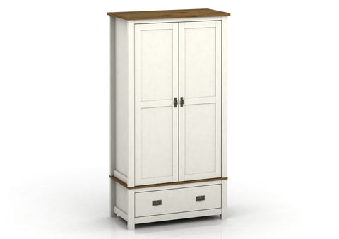 Farmhouse Painted Double Wardrobe With 1 Drawer - White or Grey