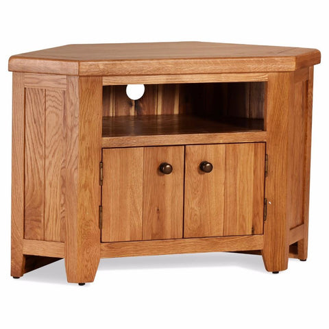 Orland Oak Corner TV Unit – Assembled
