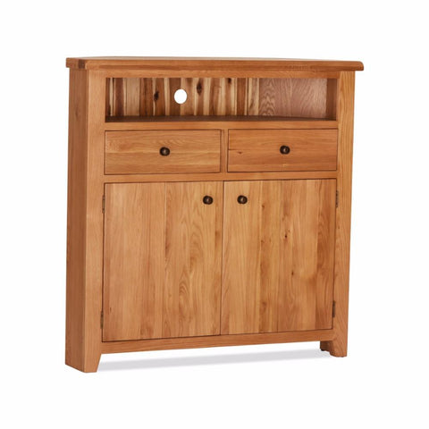 Orland Oak 2 Door 2 Drawer High Corner TV Unit – Assembled