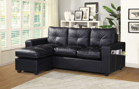 Relax L Shaped Faux Leather Lounger Sofa - Black & Brown