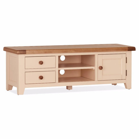Jenison Oak Wide Screen TV Unit – Assembled