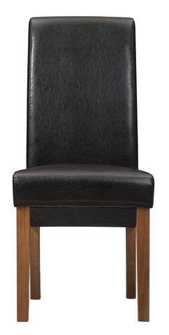 London Faux Leather Wooden Chair - Brown