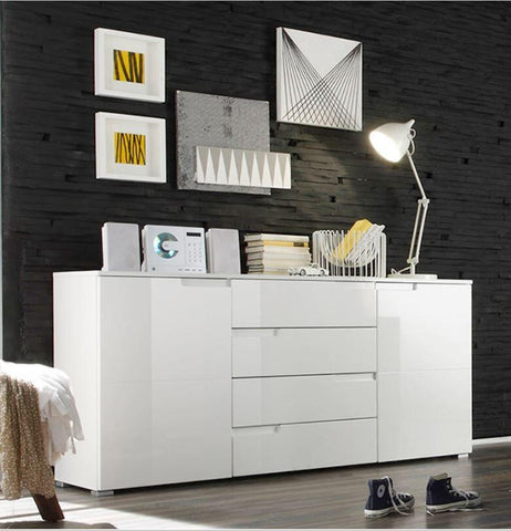 Santiago High Gloss White Wide Sideboard (2 Door & 4 Drawers)