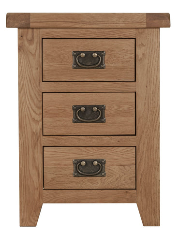 Oak Bedside Table with 3 Drawers - Assembled