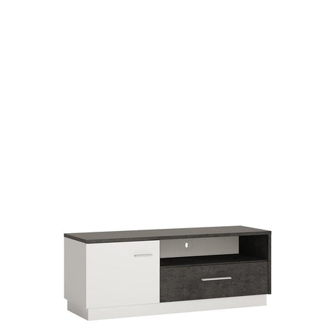 Zingaro 1 Door 1 Drawer TV Unit in Slate Grey and Alpine White