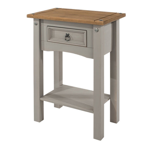 Corona Washed Grey 1 Drawer Console Table