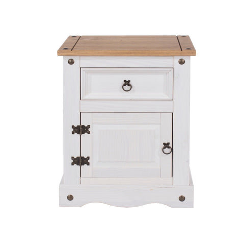 Corona Premium White Washed 1 door & 1 Drawer Bedside Table