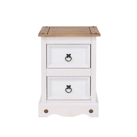 Corona Premium White Washed 2 Drawer Bedside Table