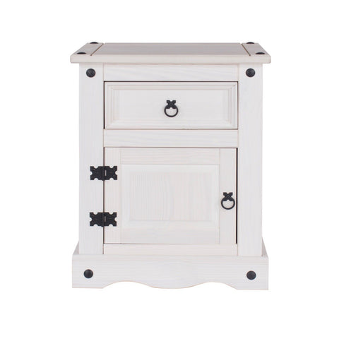 Corona White Washed 1 door & 1 Drawer Bedside Table
