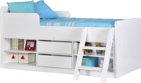 Felix Low Sleeper Kids Wooden Bed in White