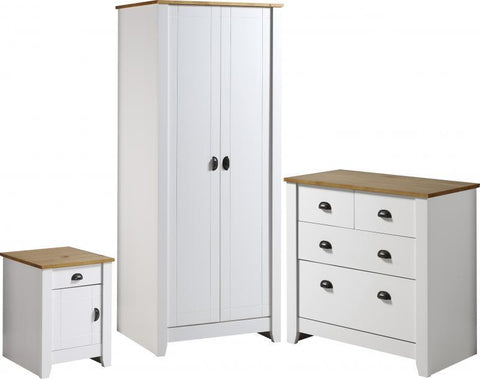 Ludlow Bedroom Trio Furniture Set In White/Oak Lacquer