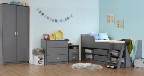 Felix Grey Low Sleeper Kids Wooden Bed with 3 Piece Bedroom Set