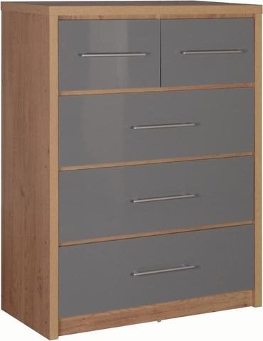 Seville 3+2 Chest of Drawers in Grey High Gloss
