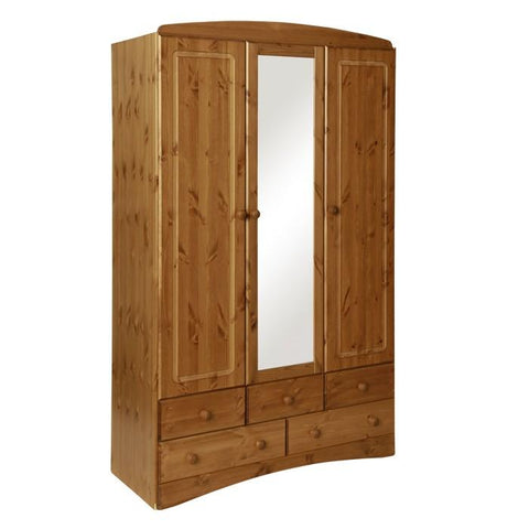 Scandi 3 Door 5 Drawer Wardrobe with Mirror in Pine