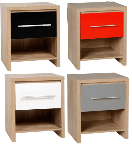 Seville 1 Drawer Bedside Table (Black, Red, Grey & White)