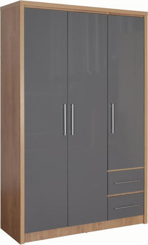 Seville 3 Door 2 Drawer Wardrobe In Grey High Gloss