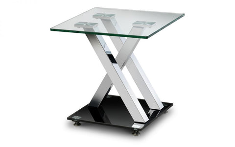 X-Frame Glass & Chrome Lamp Table