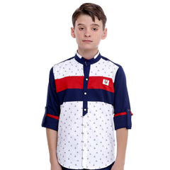 MashUp Yatch Print White and Navy Shirt - KRAZYLA