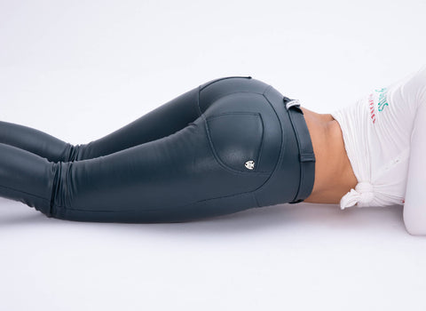 2019 Mid/High Waist Blue Color Eco-Leather Pants Lifts &Supports