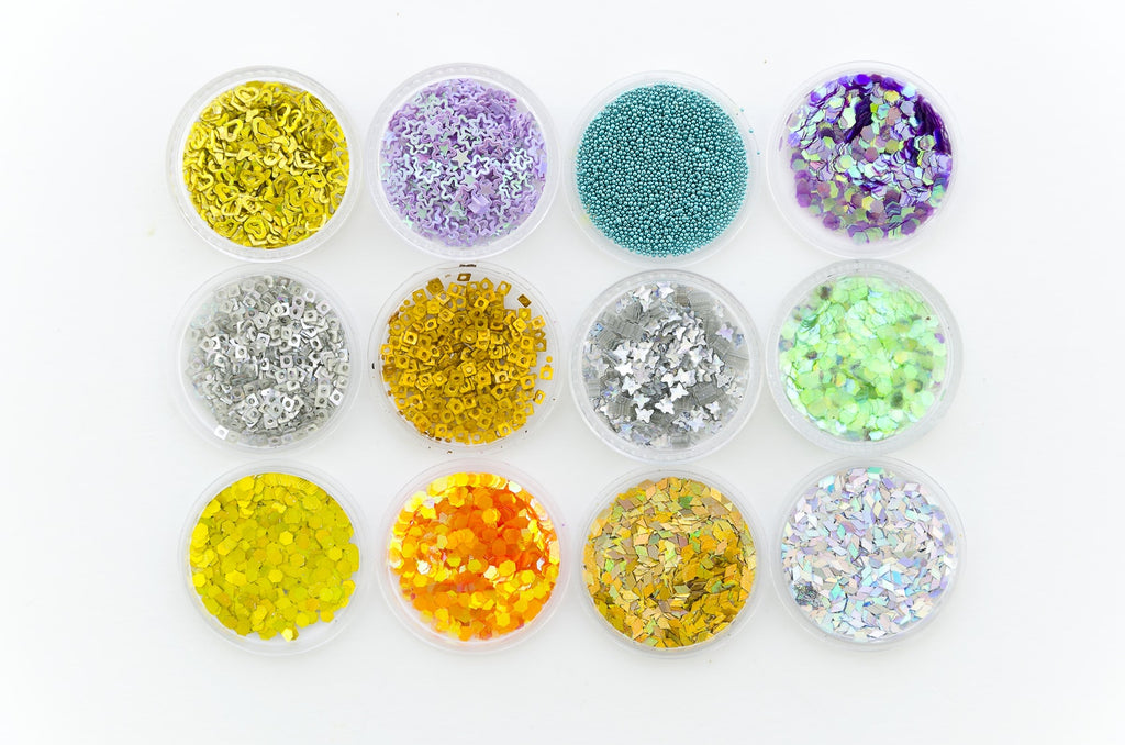 colourful sequins and glitter from haberdashery