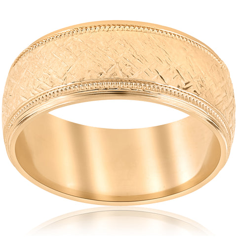 10k Yellow Gold Men's Comfort-Fit Wedding 8MM Band With Etched Finish