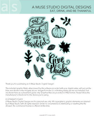 digital cut file - eat, drink, and be thankful