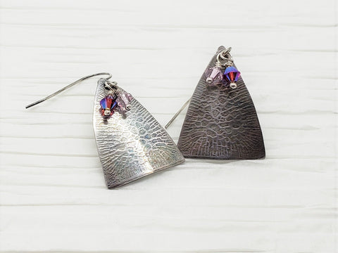 Antiqued Crackle Texture Sterling Silver Earrings