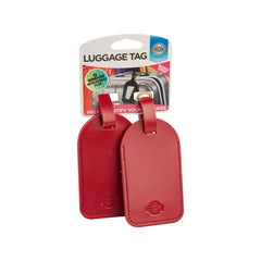 Leather Look Luggage Tags 2pk - Red - globitetravel