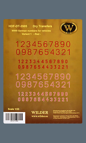 HDF-DT-3505 -  WWII German numbers for vehicles. Variant 1. - Red