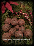 #BWB12 Primitive Blackened Beeswax Jingle Bells Bowl Fillers Or Ornaments (Made IN USA)