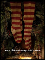#RET1 Primitive Red & Antique White Wool Stockings
