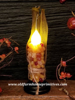 #VJ36 Primitive Corn Remote Battery Operated LED Candle (Made In USA)