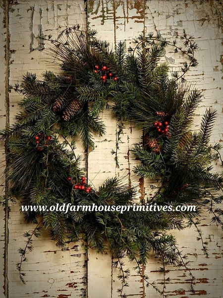 #RH31 Primitive Mixed Pine Wreath With Berries and Pinecones