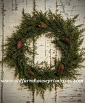 "#RH36 22"" Prickly Pine Wreath With Pinecones"