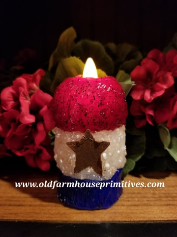 #VJSC1 Primitive Americana Star Moving Flame Candle Made In USA!