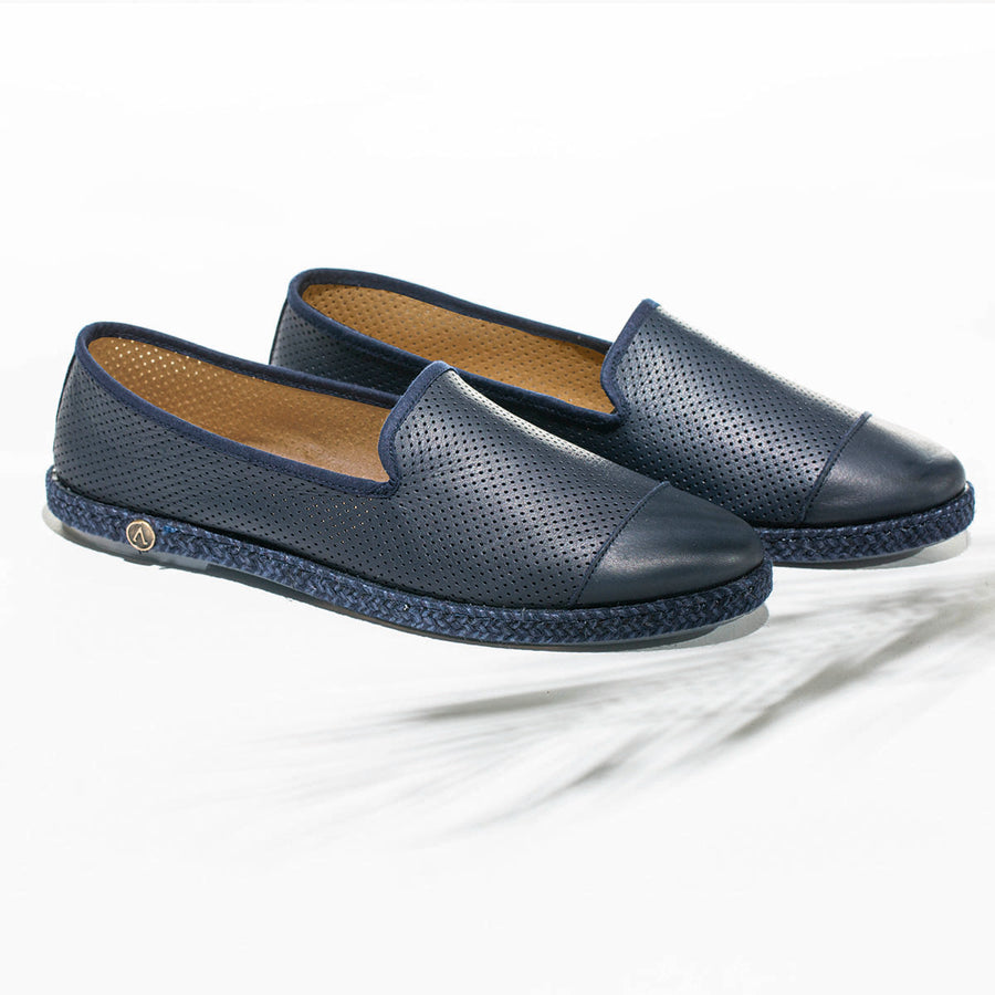Leather Slip-On Dark Blue Homme ANGARDE leather summer afterwork bleu nuit casual chic