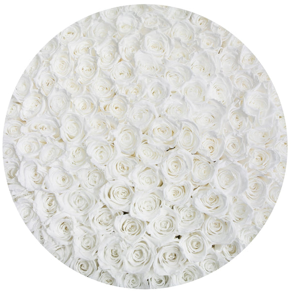 The Million Large Luxury Box - White Eternity Roses - Black Box - The Million Roses Europe
