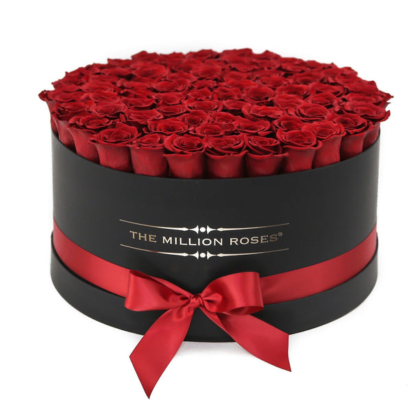 The Million Large Luxury Box - Red  XL Size Eternity Roses - Black Box - The Million Roses Europe