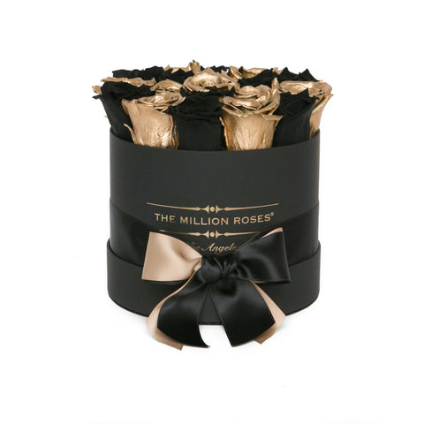 Classic - Black & Gold Eternity Roses - Black Box - The Million Roses Europe