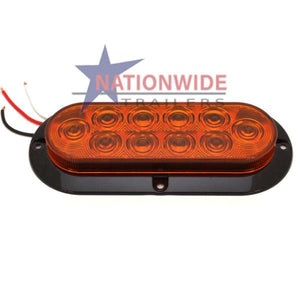 "LED Light, Turn Signal/Parking, Oblong Flange Mount, 6-1/2"" Amber Lights & Electrical Nationwide Trailers Parts Store"