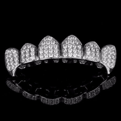 Silver Plated CZ Top Grillz w Fangs - Gold Teeth - Gold Grillz - Rois D'or