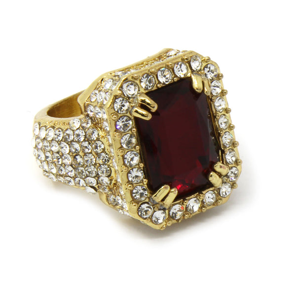 14K Gold Plated Red Ruby Ring - Gold Teeth - Gold Grillz - Rois D'or