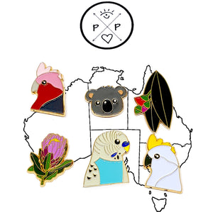 Set of 6 Australiana Enamel Pins by Patch Press (Set A)