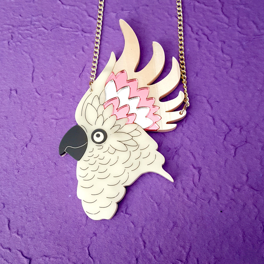 Grey/Pink/Silver Cockatoo Necklace by Designosaur